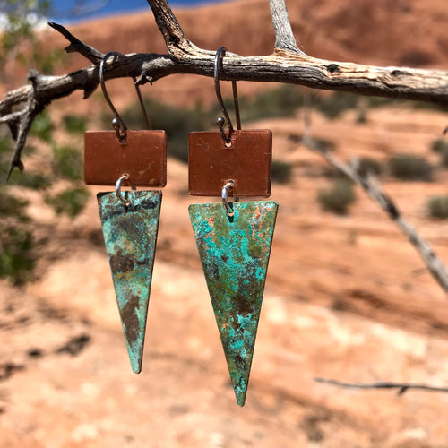 True North - Blue Patina Copper Earrings