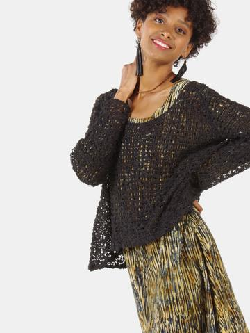 SOUL WARMER CROCHETED LONG SLEEVE BLACK
