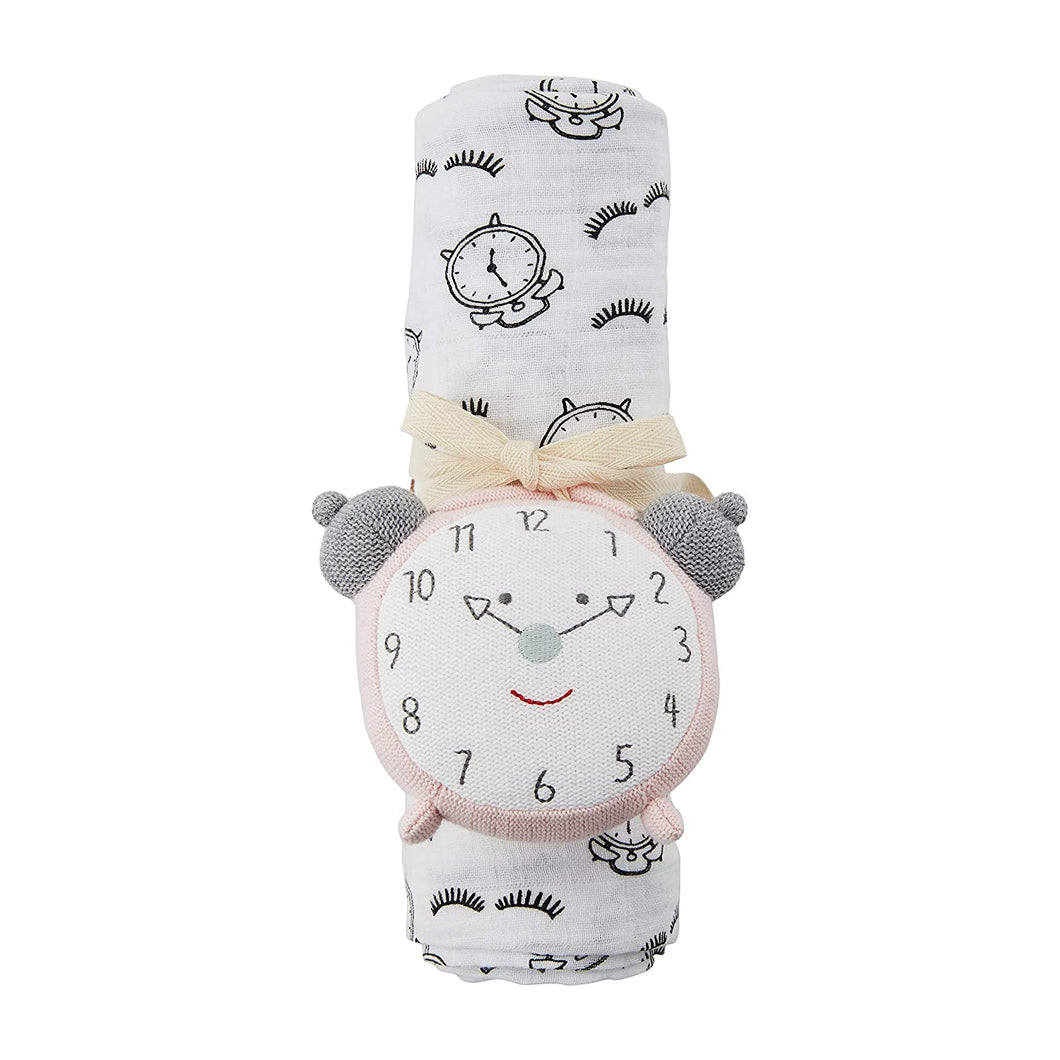 ALARM CLOCK SWADDLE AND RATTLE