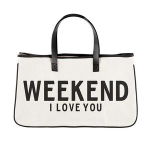 WEEKEND I LOVE YOU CANVAS TOTE