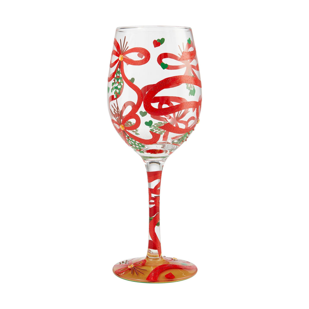 LOLITA MEET ME UNDER THE MISTLETOE WINE GLASS