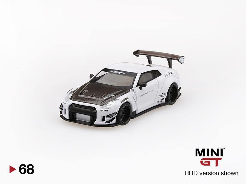 MINI GT 1:64 Mijo Exclusives Nissan GT-R R35 Liberty Walk Type 2 White - Little Luca's Toys