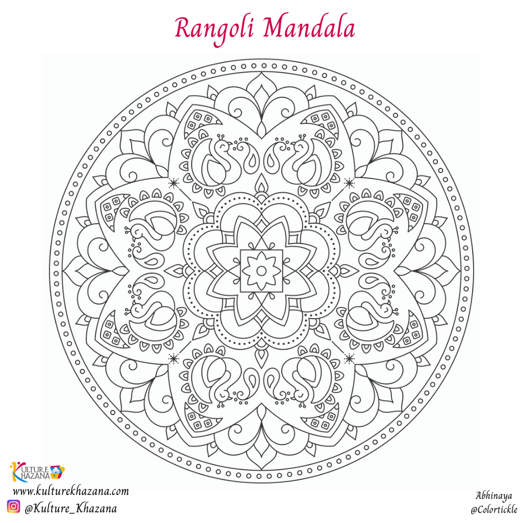 Printable - Rangoli Mandala Coloring Sheet