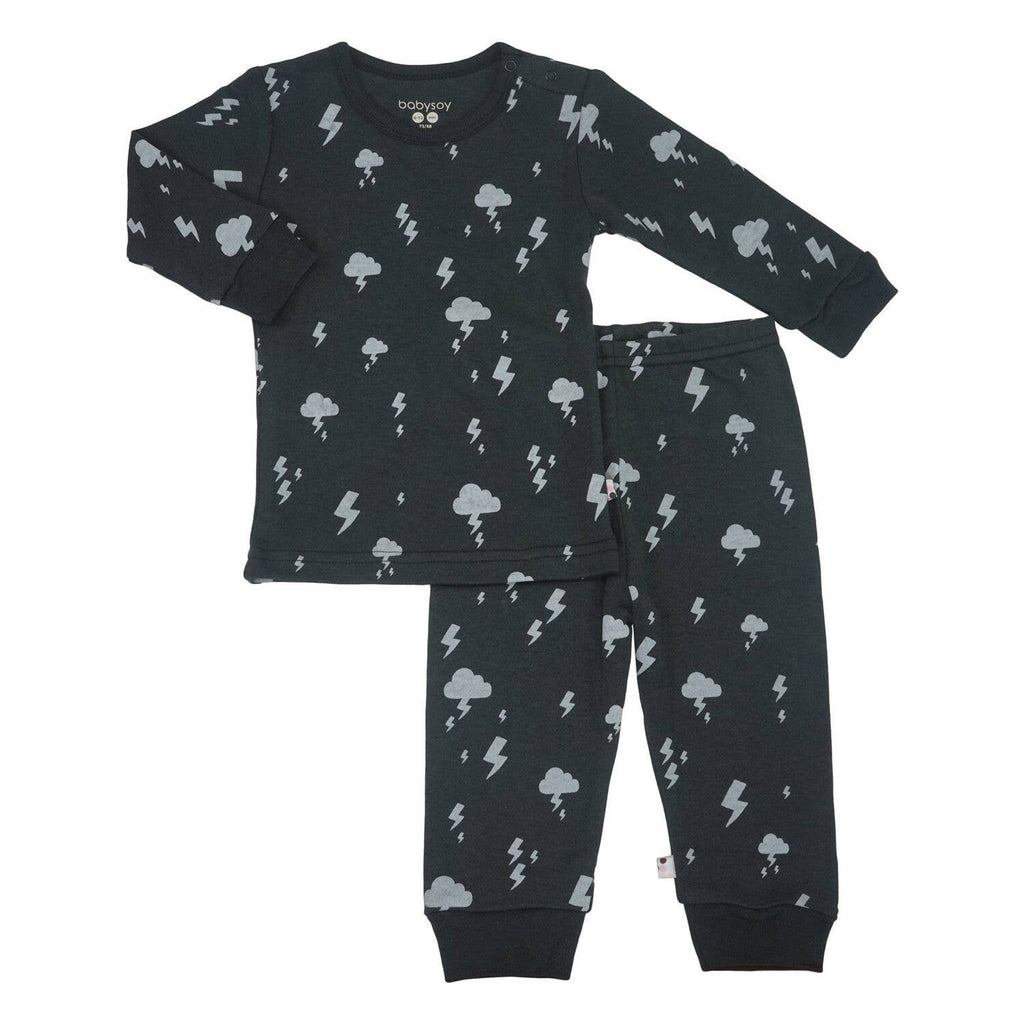 Babysoy Clouds Long Sleeve Lounge Sets - Lightning