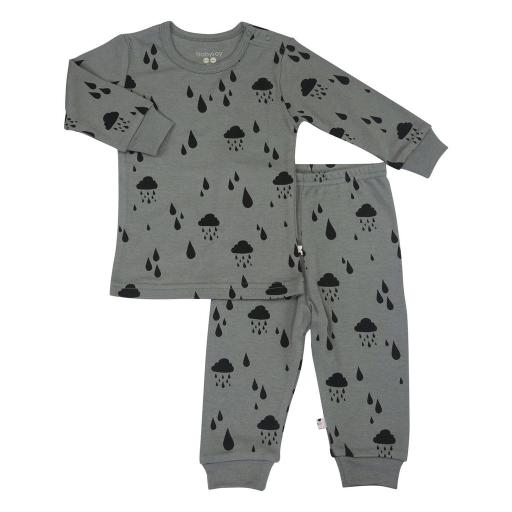 Babysoy Clouds Long Sleeve Lounge Sets - Rain