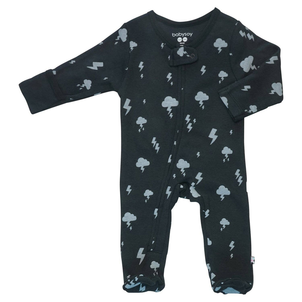 Babysoy Clouds Zipper Footie - Lightning