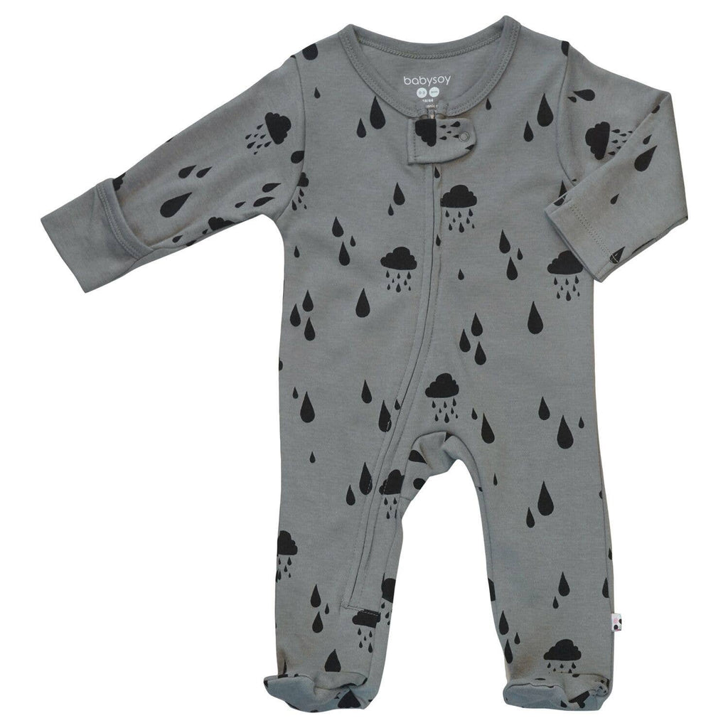 Babysoy Clouds Zipper Footie - Rain