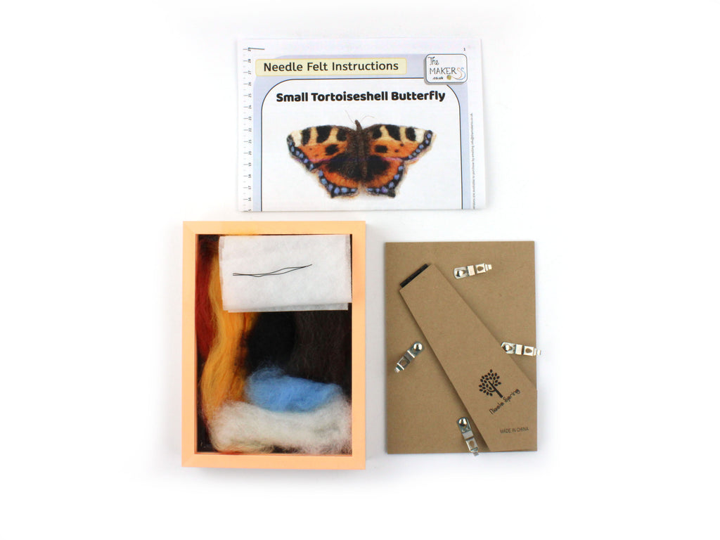 The Makerss | Needle Felted 'Small Tortoiseshell Butterfly in Box Frame' Pack  | Craftfulness Festival Show Kit