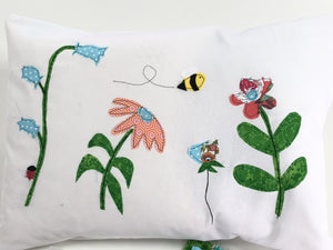 Leicestershire Craft Centre | Bright Bee Flower Garden Applique Cushion Kit  | Craftfulness Festival Product