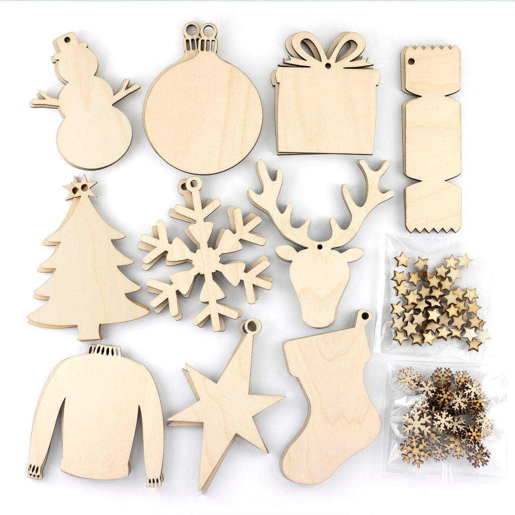 Artcuts | 30 Wooden Christmas Decorations + Free Embellishments Bundle