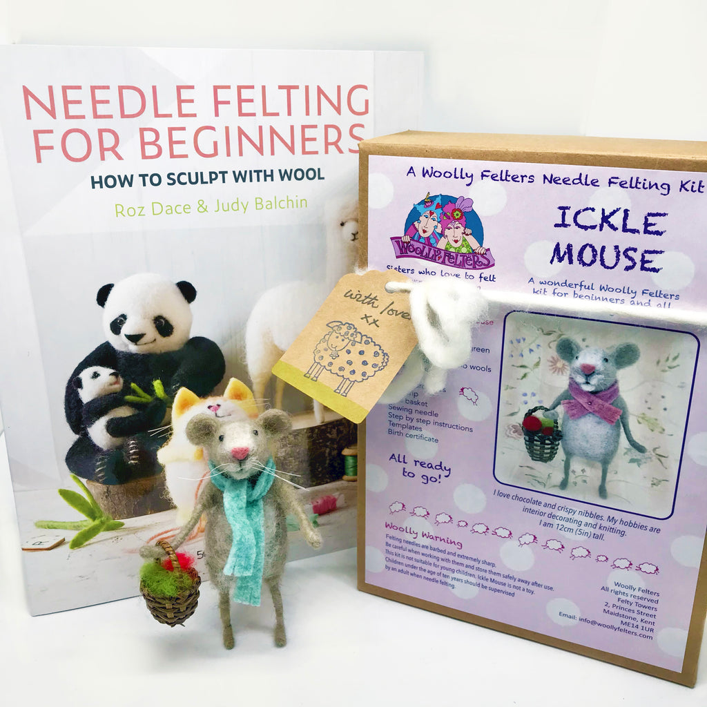 Woolly Felters | Needle Felting for Beginners Book plus Ickle Mouse Needle Felting Kit | 2021 AAA Spring Show Kit