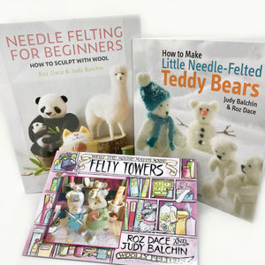 Woolly Felters | Book Bundle: Needle Felting for Beginners Book, How to Needle Felt Little Teddy Bears Book plus What the Mouse Mates Made Story Book | 2021 AAA Spring Show Kit