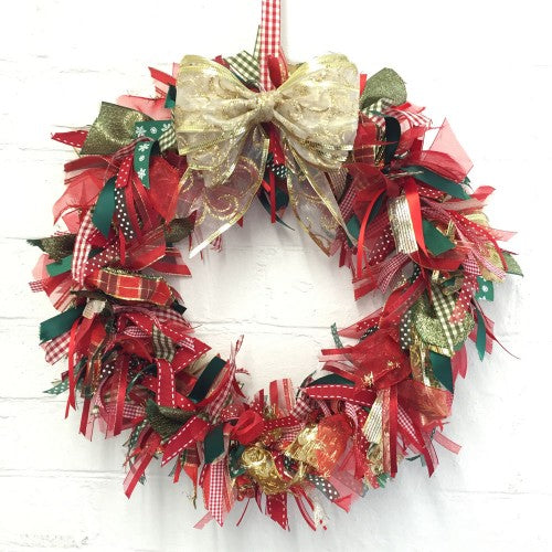 "Fantastic Ribbons | Large 16"" Christmas Ribbon Wreath Kit"