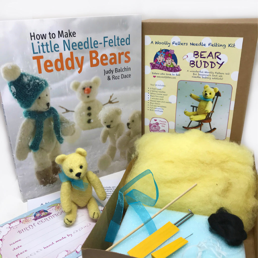 Woolly Felters | How to Make Little Needle Felted Teddy Bears Book plus Bear Buddy Needle Felting Kit