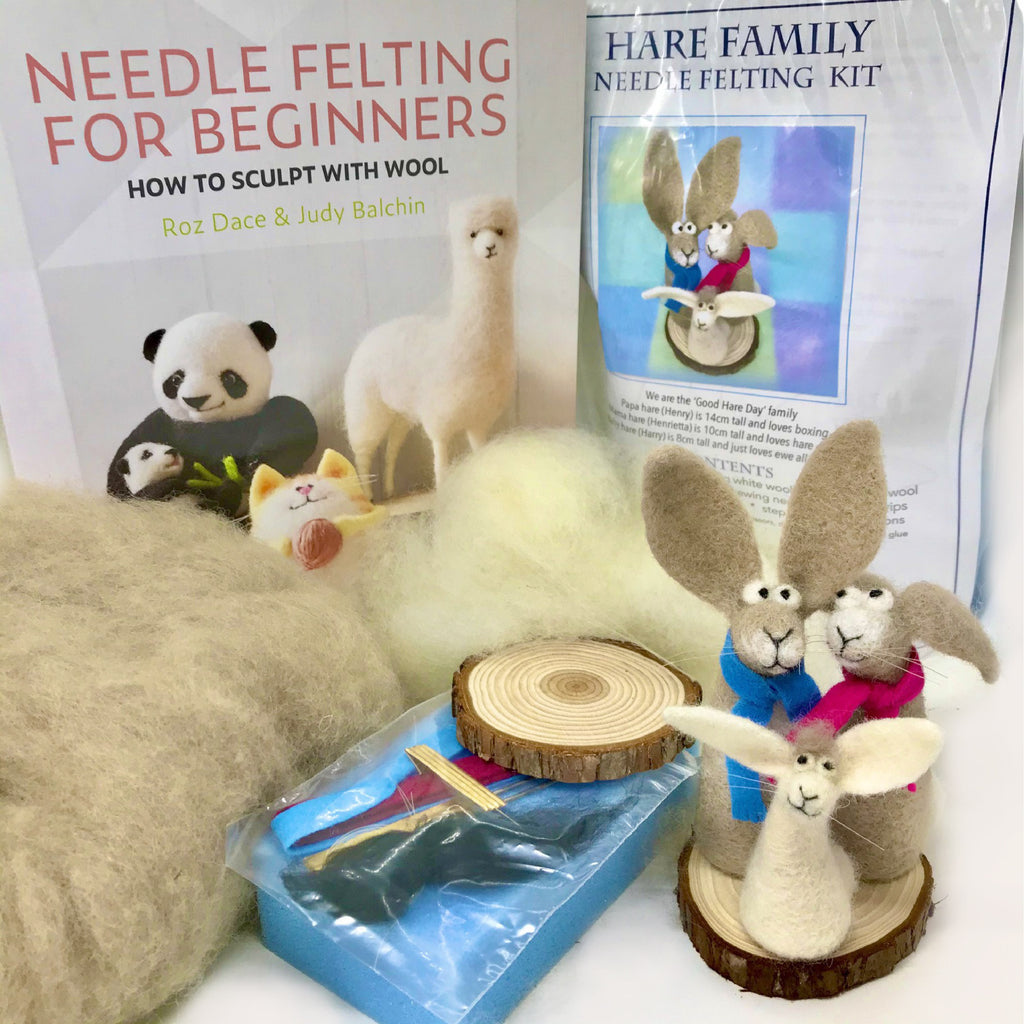 Woolly Felters | Needle Felting for Beginners Book Plus Hare Family Needle Felting Kit