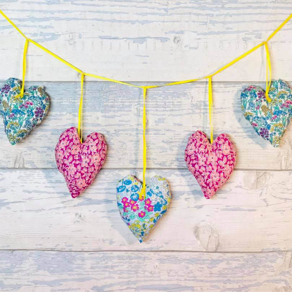 Living in Loveliness | Plush Padded Heart Garland (Liberty / Festive options)
