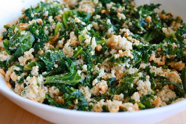 Flash- Fried Kale with Garlic, Almonds, and Cheese served over Cous Cous