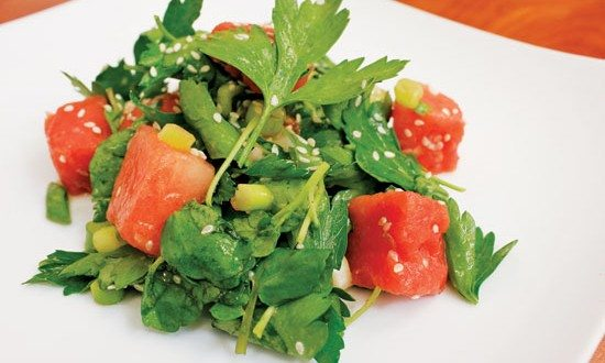 Watercress and Watermelon Salad with Ginger