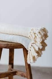 Luxury Artisan Blanket, Hand-loomed Limited Edition 100% GOTS-Certified Cotton, Ecru Color