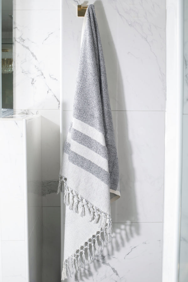 BLACK MARBLE ARTISAN BATH TOWEL