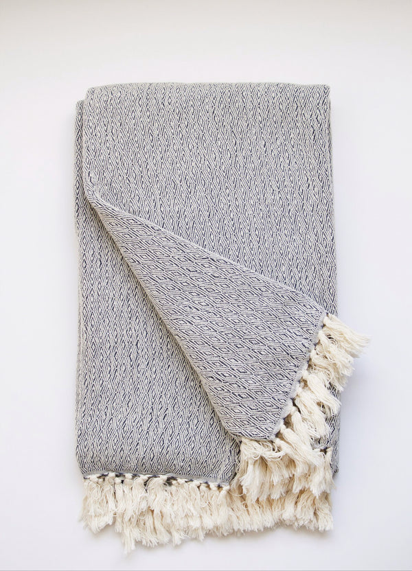 Luxury Organic Artisan Blanket, Limited Edition, 100% GOTS-Certified Cotton, Blue Color