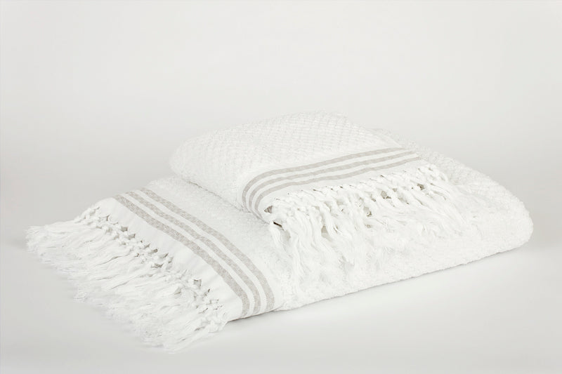 MURAD Luxury Artisan Towel, 100% GOTS Cotton, White, BIG 100 x 170cm