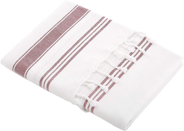 MERYEM Artisan Pestemal, 100% GOTS Cotton, White/Persian Red