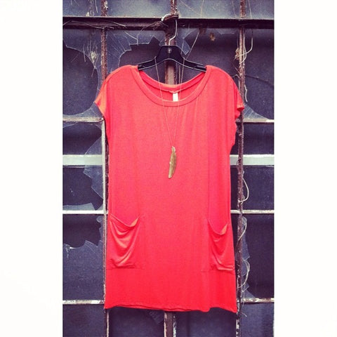 Emerald Crimson T Shirt Dress