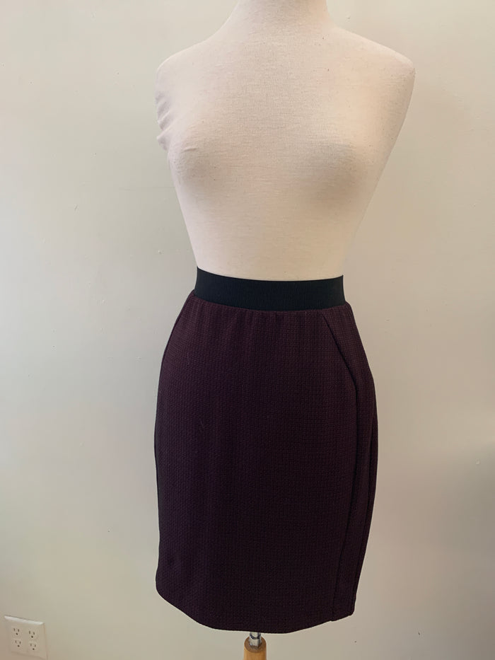 Ecru Purple Patterned Skirt (S)