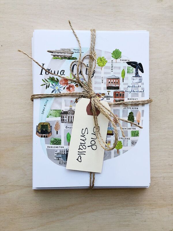 Iowa City Map Greeting Cards | 6 Pack