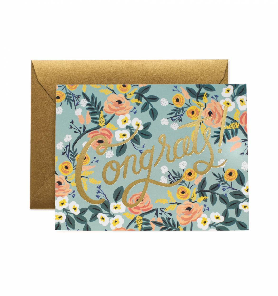Congrats Blue Meadow Card / Gold Envelope
