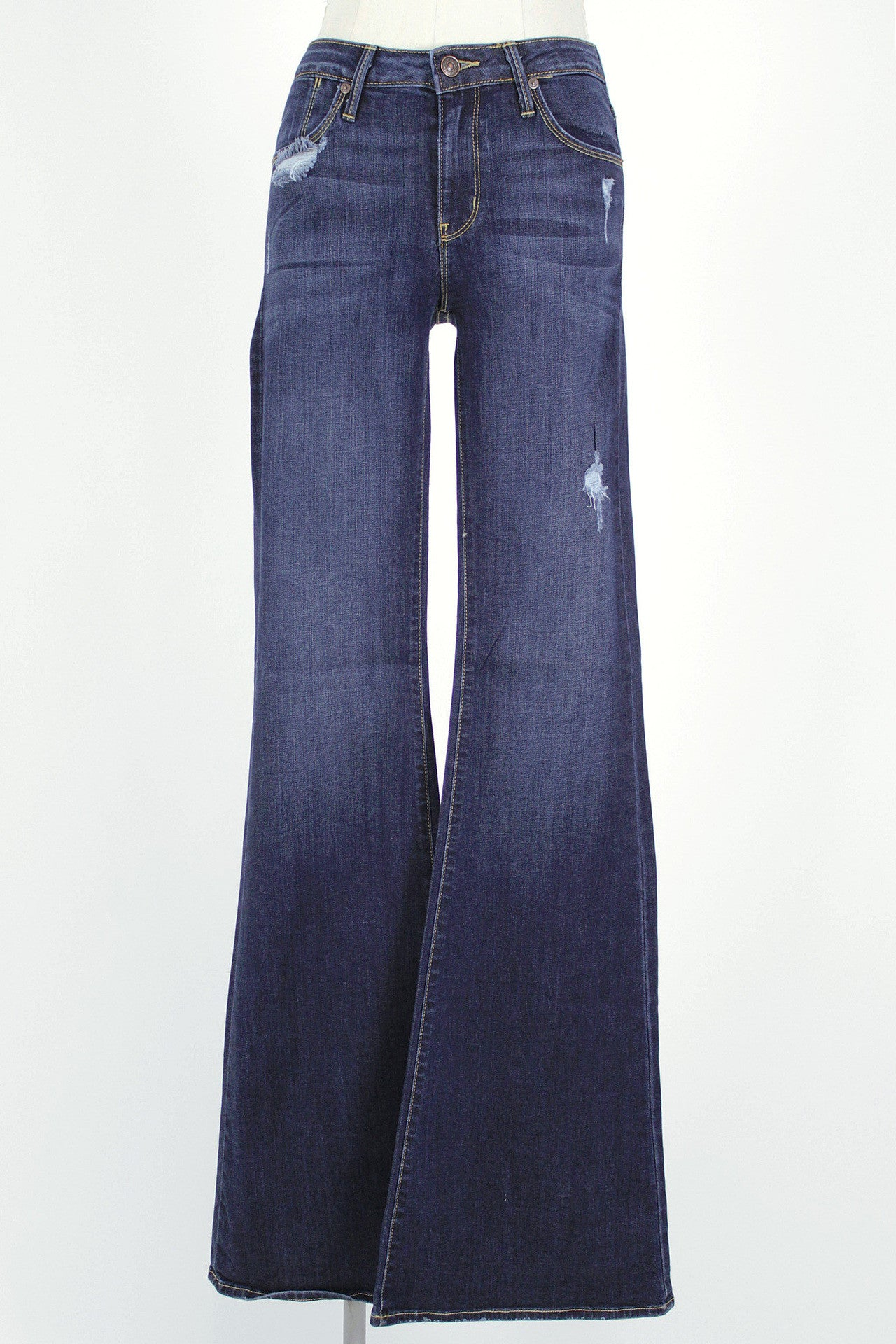 Slight Distressed 9 inch Flare Jean / Dark
