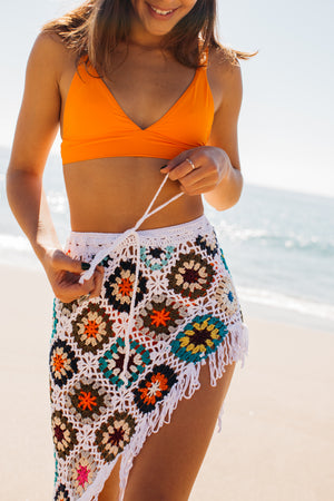 Crochet High Leg Cover Up Skirt / Multi