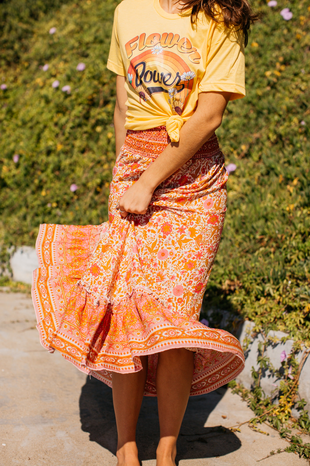Bright Folk Hi-Lo Maxi Skirt / Pink