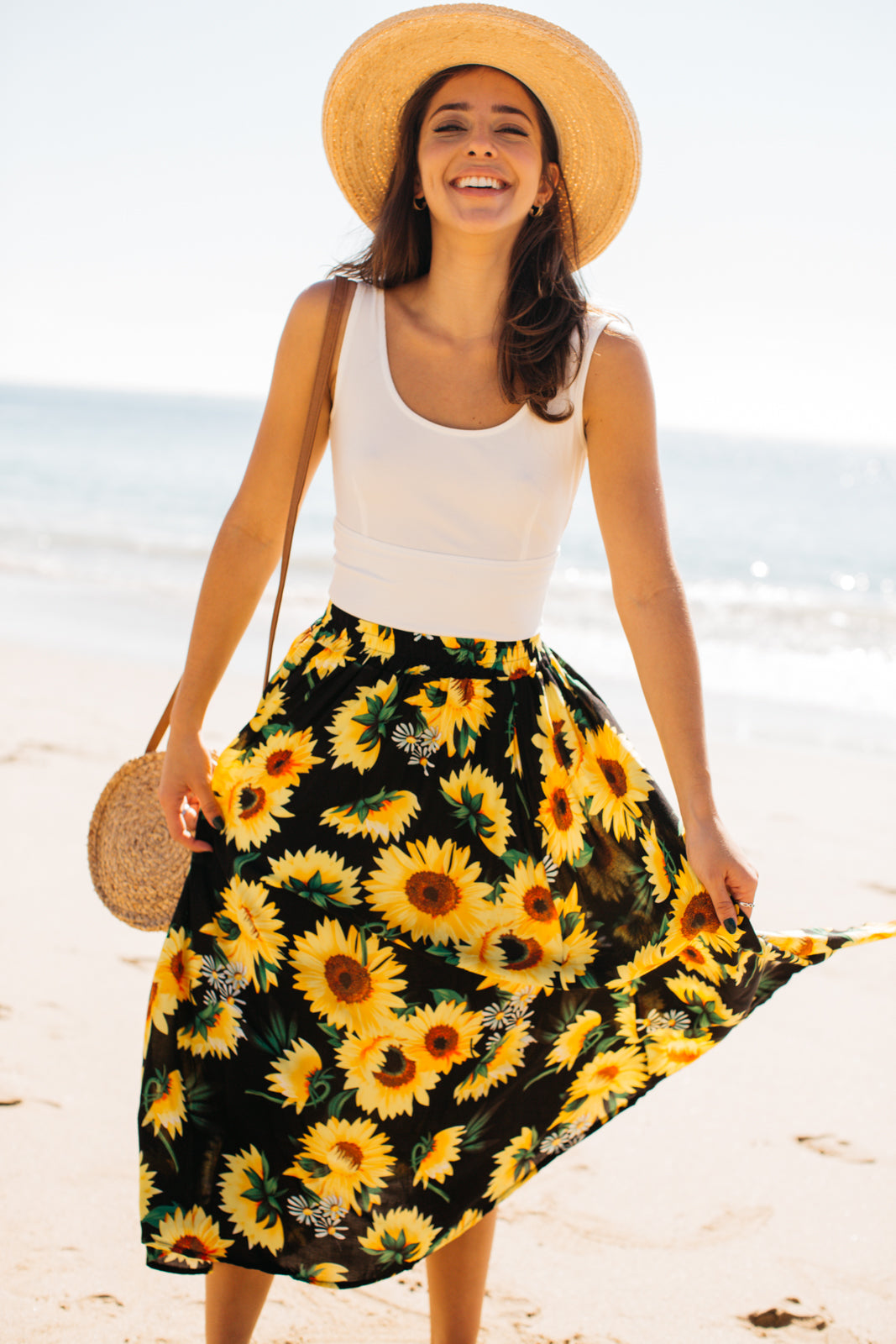 Sunflower Midi Skirt / Black