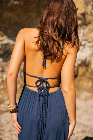 Solid Halter Maxi Dress / Navy