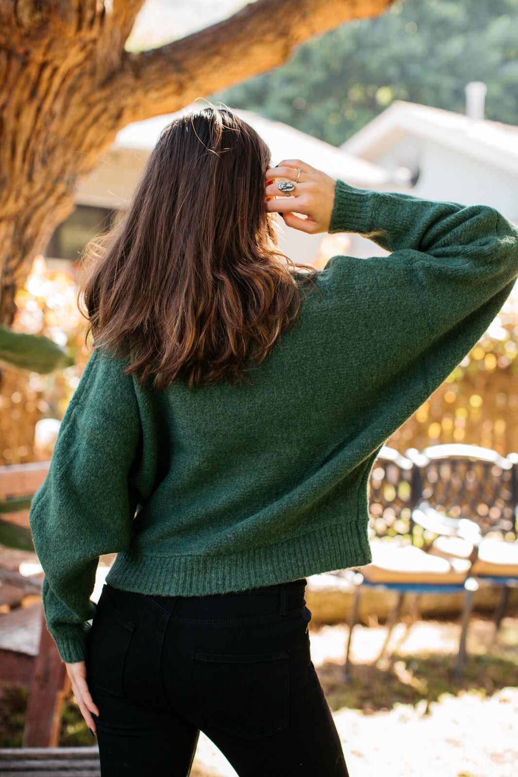 Crewneck Cropped Dolman Sweater / Forest