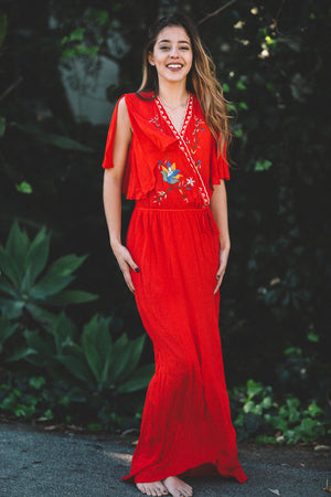 Embroidered Playa Maxi Dress / Red