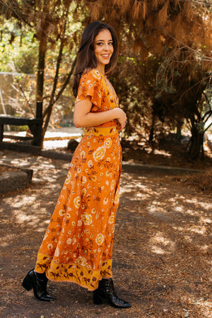 Fall Floral Festival Wrap Maxi Dress / Orange