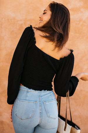 Peasant Smock Body Long Sleeve Top / Black