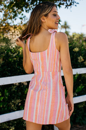 Linen Retro Stripe Button Up Mini Dress / Pink