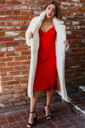 Ultra Soft Faux Fur Long Coat / Ivory
