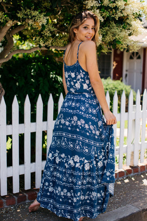Vine Floral Cami Wrap Dress / Blue