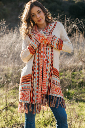Border Knit Fringe Cardigan / Natural