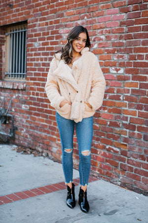 Faux Fur Double Button Teddy Coat / Natural