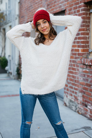Brushed Boucle V-Neck Sweater / Ivory