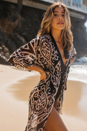 Damask Ikat Open Front Long Cover Up/ Black