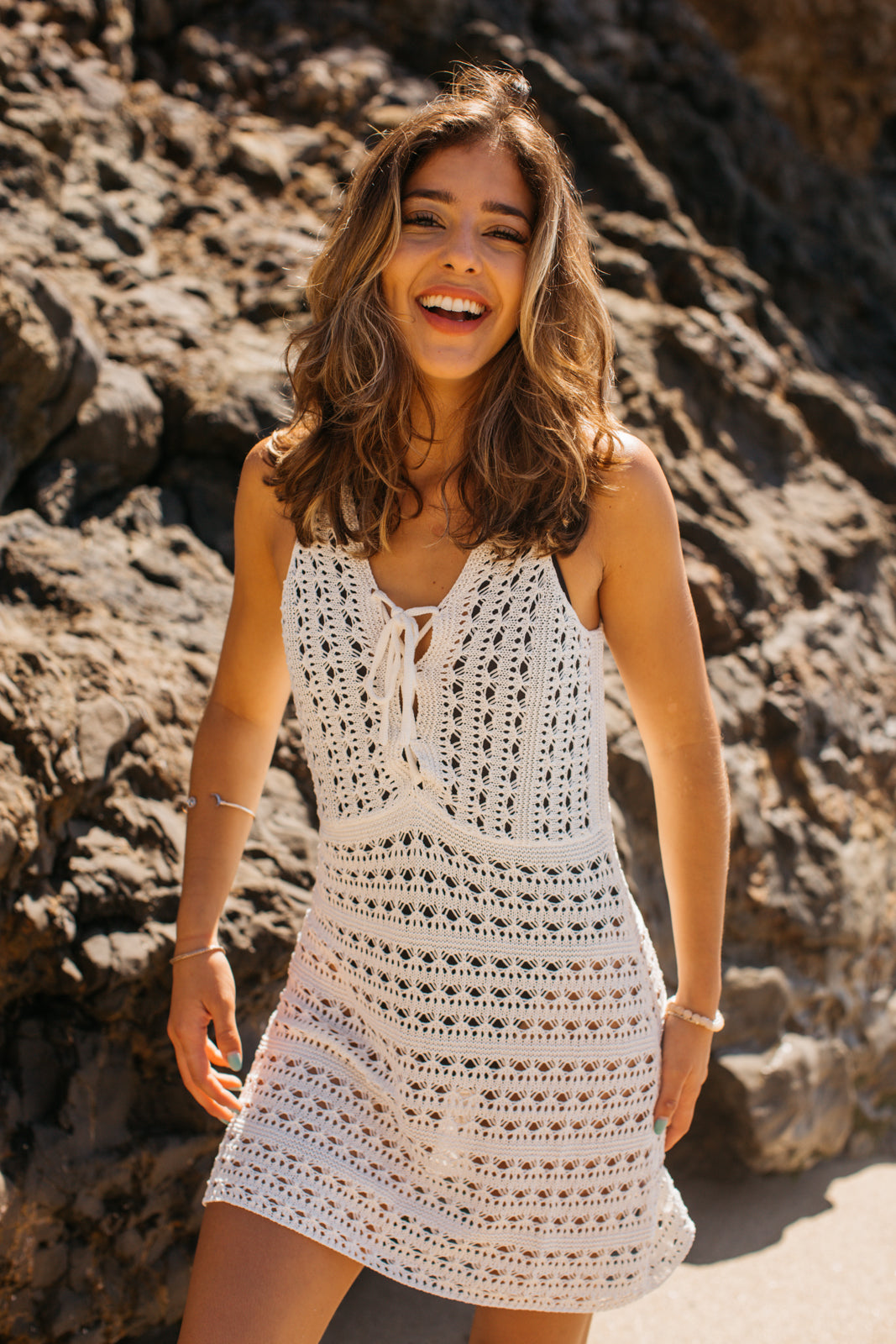 Crochet Short Tank Dress Cover Up / White