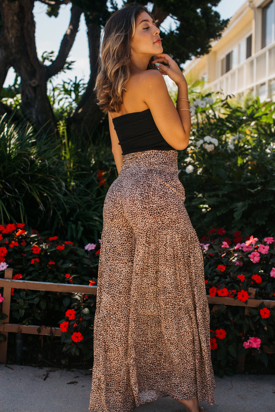 Leopard Tiered Wide Leg Pant / Brown