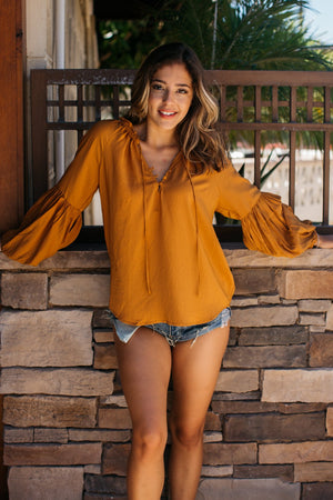 Ruffled Neck Ballooned Long Sleeve Blouse / Rust